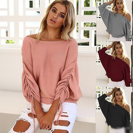 Wholesale fashion thin blouses - 2018 Fashion Knitwear For Women Slash Neck Batwing Sleeve Oversize Pullover Knit Sweater Spring Summer Thin Blouses Clubwear