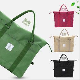 Wholesale Wholesale Packaging Nylon - Korean Women Female Shoulder Bag Fashion Nylon Baggage Bag Folding Handbag Package Trave Bag 20 PCS LJJY200