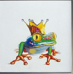 Wholesale Handsome Cartoon - Handsome Frog Prince,Hand-painted Modern Cartoon Animals Art Oil Painting,Home Wall Decor On High Quality Canvas in Multi sizes C028