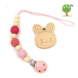 Wholesale Wooden Pacifier Clips - Wholesale-set of shade pink crochet beads baby Pacifier Clip Holder engraved wooden bunny teether Dummy holder new-born gift NT170