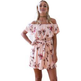 Wholesale Mini Tunic - Fashion Women Slash Neck Off The Shoulder Femme Vestidos Dresses Floral Print Tunic Summer Beach Short Sleeve Sun Mini Dress