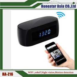 Wholesale Mini Alarm Clock Function - New launched 1080p wifi alarm clock camera hidden camera night vision mini camera also with motion detection function