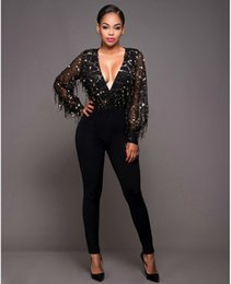 Wholesale sequin jumpsuits for women - Wholesale- 2016 Fall Black Sequins Mesh Bandage Jumpsuit And Rompers For Women Sexy One Piece Deep V Neck Perspective Bodycon Bodysuit