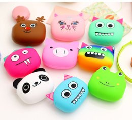 Wholesale Silicone Wallet Zipper - Silicone Coin Purse Lovely Kawaii Candy Color Cartoon Animal Women handbags Girls Wallet Multicolor Jelly Purses Kid Christmas Gift