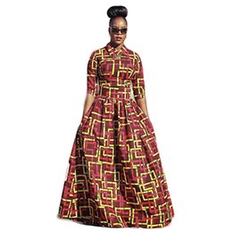 Wholesale African Dresses for Women New Two Pieces Africa Dashiki Long Dresses Big Hem Half Sleeved Woven African Dresses for Women