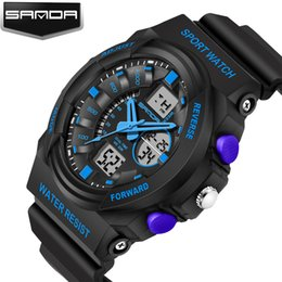 Wholesale High End Digital Watches - 2016 New Sanda Fashion Sport Watch Waterproof Digital Watch High-end Brand Men's Wrist Watch Silicone Band Quartz Watch Relogio Masculino