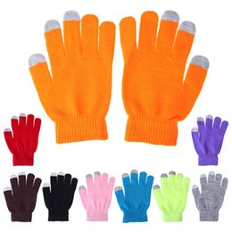 Wholesale Knit Glove Iphone - Free shipping Knit Wool Touch Gloves Warm Winter Best Quality glove Unisex Functiona Gloves for iPhone Touch Screen Gloves for iPad