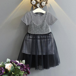 Wholesale Striped Tshirt Dress - New Summer Girls Dress Set Children 2pcs Outfits Short Sleeve Stiped Long Tops Tshirt +Lace Tulle Slip Dress Clothing Suit 13032