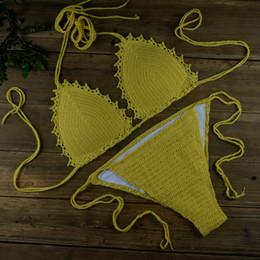 Gelber maschenbikini online-Sexy Beach Yellow Bikini Set - Crochet Bademode - Kann Größe angepasst werden - Häkeln Mesh Bademode S M L 13 Farbe