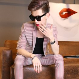 Wholesale Three Quarter Suit Men - (Jacket+Pants)suit new style summer male slim fashion navy blue 2 pieces sets Korean three quarter sleeve coat Thin section Striped suit
