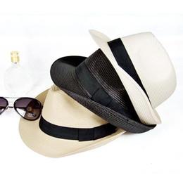 Wholesale Straw Party Props - Happy birthday party cap Dance Jazz cap Straw Wide Brim Summer Beach Sun Hat Ladies Floppy Caps Performance props favors