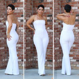 Wholesale Sexy Backless Outfit - 2017 Spring White Lace Playsuit Wide Leg Backless Sexy One Piece Outfits Off the Shoulder Elegant Long Rompers Womens Jumpsuit Strapless