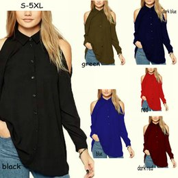 Wholesale Womens Blouses Sale - Plus Size Long Sleeve Strapless Shirts Chiffon Women's Blouses Fashion Sexy Lapel Neck Lady's Shirt Casual Shirt Womens Tops Hot Sale