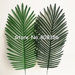 Wholesale Wholesale Greenery - 10pcs Artificial Leaves Simulation Plants Fake Palm Tree Leaf Greenery for Floral Arrangement Accessory Part