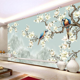 Wholesale Bird Live Wallpaper - Hand painted oil painting style wallpaper Chinese flowers and birds retro living room TV background wallpaper