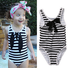 Wholesale One Piece White Baby - cute baby girl swimwear one piece striped with hollowing style girls swimsuit kid children Bathing swimming Suits Bikini Set