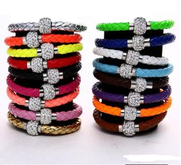 Wholesale Heart Crystal Bead Disco - Hot Sale Various colors PU Leather Bracelet Shamballa CZ Disco Crystal Bracelet Fashion Magnetic Clasp Bracelet Wristband Jewelry