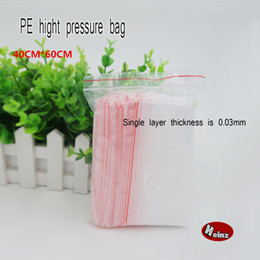 Wholesale Clear Necklace Bags - 40*60cm Red side PE Clear Plasti bag gift Packaging bags for necklace jewelry ziplock clear self seal Thicker bags. Spot 100  package