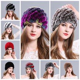 Wholesale Ladies Rabbit Fur Hats - Fashion girl fur cap lady winter natural real rex rabbit fur hat high quality women warm Beanies 100% Agenuine fur YYA474