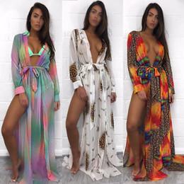 Wholesale Leopard Print Beach Dress - 2018 Summer Beach Bikini Cover Ups dress Women holiday long Cardigan Sunscreen long sleeve leopard print blouses seaside Swimwear loose wrap