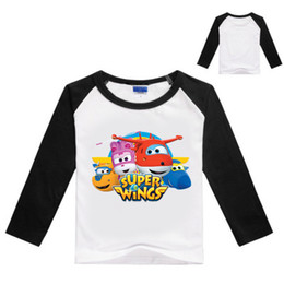 Wholesale 8years Girl - 3-8Years Spring Girl Clothes Super Wings Clothing Boys Long Sleeve Tops T-shirt Fille Boys Sweatshirts Infant Shirts 7187