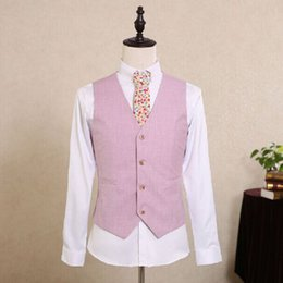 Wholesale Mens Waistcoats Custom - Wholesale- 2017 Fall Winter Pink Mens Waistcoats Slim Fit Wedding Prom Dinner Suit Vests Best Man Vest Colete Custom Made chaleco hombre