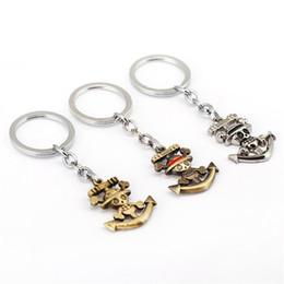 Wholesale One Piece Key Ring - 2017 New Products One Piece Trafalgar Law Keychain Metal keychains Fashion Woman Car Key Ring Man Gift