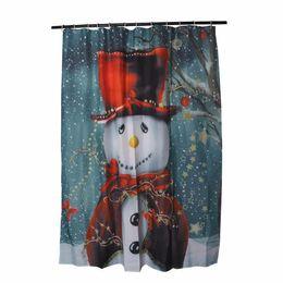 Wholesale Modern Pattern Curtains - Wholesale- Christmas Snowman Shower Curtain Bath Curtain Sleepy Snowman Pattern Waterproof Bathroom Shower Curtain With 12 Hooks 150*180cm