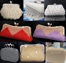 Wholesale Orange Wedding Evening Bags - Wholesale-Pearl evening bags rhinestone beaded day clutch evening bag finger ring mini women wedding bridal bridesmaid shoulder ladies bag