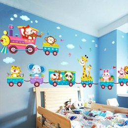 Wholesale Train Animal - Cartoon animals train child room wall stickers for kids rooms boys room adesivo de parede wall decals