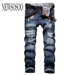 Wholesale Preppy Mens Clothes - Wholesale-NEWSOSOO Ripped Jeans Men 2016 Designer Vintage Mens Biker Jeans Skinny Denim Overalls Mens Casual Elastic Jeans Brand Clothing