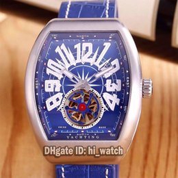 Wholesale Tourbillon Cheap - Luxury Brand Cheap New Yachting Blue Dial Silver Mens Watch Automatic Mechanical Tourbillon Leather Strap Gents Sports Watches 6 Styles F45a