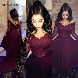 Wholesale Long Red Glitter Dresses - Two Piece Burgundy Long Sleeve Prom Dresses 2017 Sweetheart Glitter Beaded Lace Formal Party Dresses V Back High Low Dress vestido de gala
