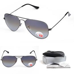 Wholesale Gun Frame - Sunglasses for Men Polarized Sunglasses Black Gun Silver Frames Grey Lens with Box Fashion Brand Designer Glasses Lens Width 58mm