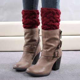 Wholesale socks knitting needles - Wholesale- 2016 Hot Sale Women Winter Short Leg Warmers Brief Paragraph Coarse Needle Solid Knitted Crochet Boot Cover Keep Warm Boot Socks