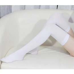 Wholesale Girls Thigh High White Socks - Wholesale-Fall Women Velvet Over The Knee Socks Stockings Black White Thigh High Socks For Ladies Girls Sexy Stocking