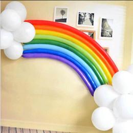 Decorações de casamento em arco-íris on-line-Rainbow Set 25 Balões de Pérolas De Látex Balão de Casamento de Natal Festa Mista de Noiva Longo Decoração de Férias Crianças Brinquedos