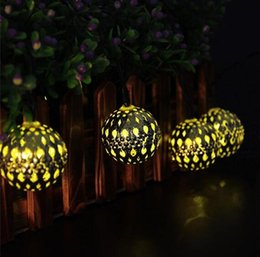 Wholesale Waterproof Solar Lanterns - Waterproof 10 LED Solar Powered Fairy Light Moroccan Lantern Silver Metal Globe String Lights Lamp For Outdoor Christmas Tree