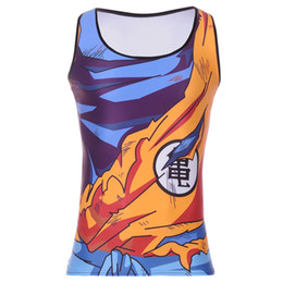 Wholesale Wholesale Men S Vests - Wholesale- Heavy Saiyan Goku Dragonball Tank Hot Men Fitness Clothing Apparel Deadlift Shirt Men Tank Top Powerlifting Motivational Vest