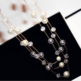 Wholesale multi crystal necklace - hot sale Fashion jewelry classic elegant 80cm woman lady sweater pearl crystal beaded multi layer long pendant necklace