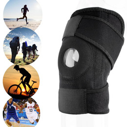 Wholesale Knee Elbow Guard - Wholesale- Men Women 1pc Adjustable Sports Training Elastic Knee Support Brace Patella Knee Pads Hole Kneepad Safety Guard Strap Protector