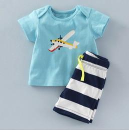 Camiseta de aviões on-line-BST26 NOVAS Chegadas 2017 Little Maven Crianças 100% Algodão de manga curta dos desenhos animados avião conjunto de impressão do menino causal verão meninos conjunto camiseta + calça