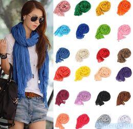 Wholesale Chiffon Silk Scarf Solid Color - 2016 Fasshion Women Folding Solid Color Cotton Blend Scarf Girl Neckerchief Candy Silk Chiffon Scarf Wrap Shawl Pashmina Scarves