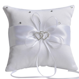 Wholesale Party Pillow - ivory ring bearer pillow New Wedding Ceremony White Ivory Satin Flower Crystal Ring Bearer Pillow Cushion