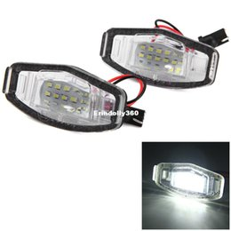 Wholesale White Honda Civic Car - 2pcs 12V Car License Plate Light White Light 18 LEDs Lamp SMD3528 External Lights for Honda Accord 4D Civic Odyssey City 4D