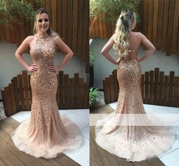 Wholesale Halter Back Elegant Dresses - 2017 New Elegant Halter Open-Back Crystals Mermaid Prom Dresses Sexy Sleeveless Beaded Tulle Sweep Train Dresses Evening Wear Party Gowns