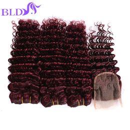 Wholesale 99j Hair Color Weave - 99J Red Brazilian Hair Weave Brazilian Deep Wave With Closure Brazilian Deep Wave Hair Bundles For Wholesale