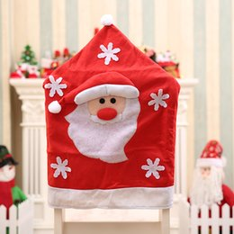 Wholesale Hotel Christmas Party Table Decoration - 3Pcs  Lot 2017 New Year Christmas Decorations Santa Claus Hat Dinner Table Chair Back Covers For Party Home Decorations Crafts Hotel