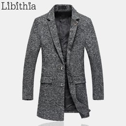 Wholesale Grey Blazers For Men - Wholesale- Blends Coats Men Long Style Slim Fit Male Winter 5XL Deer Two Buttons Casual Overcoat For Men Blazer Collar Wine Red Grey K105