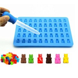 Wholesale Ice Straws - 50 Grid Bear Shaped Chocolate Mold with Straw Set Fashion Candy Maker Ice Tray Jelly Moulds Kitchen Tools